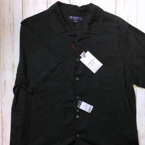 NWT CREMIEUX Black Short Sleeve Twill Shirt Large